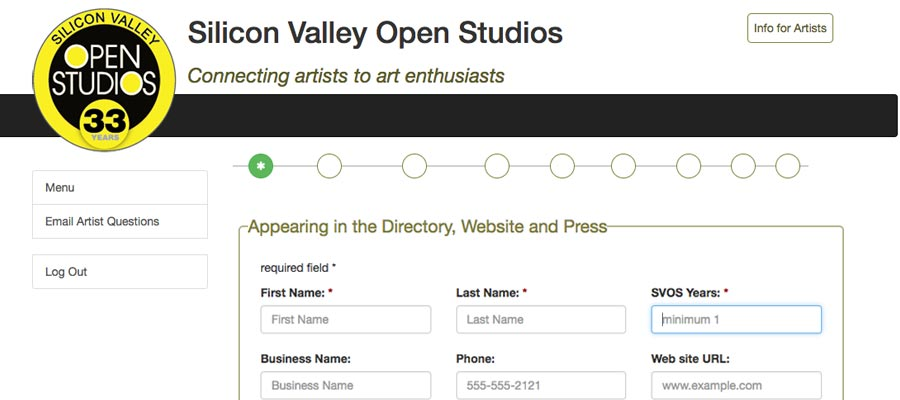 Online Registration for Silicon Valley Open Studios